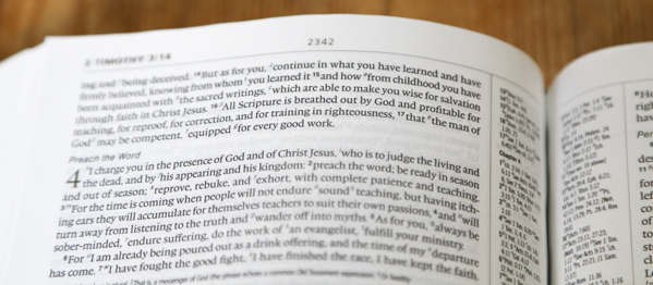 "2 Tim 3:16 ""All scripture is God breathed"""